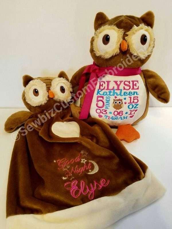 Two embroidered Blankey Buddy Okie Owls