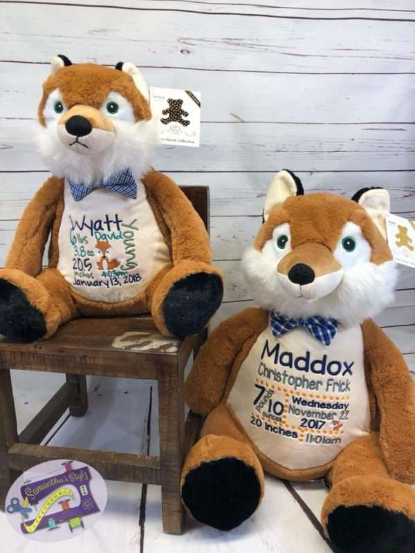 Two embroidered Frederick Buddy Fox Buddies