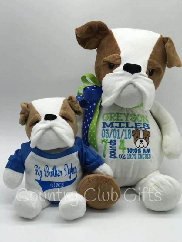"""Embroidered Buster Bulldog Buddy and his 9"""" Cuddle Pal Bulldog"""