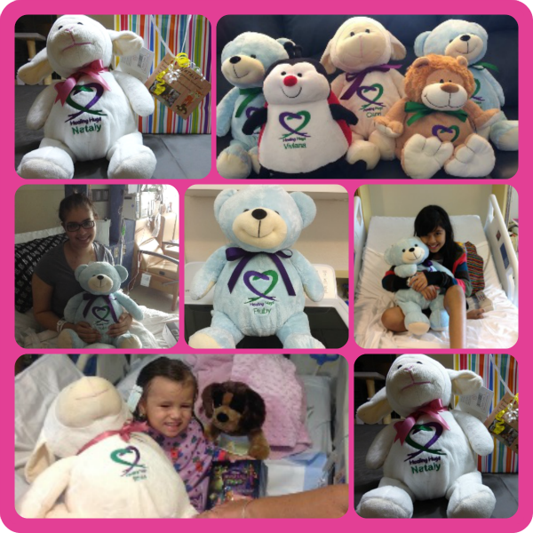 Hugs for Kids made from Embroider Buddy® stuffed animals.