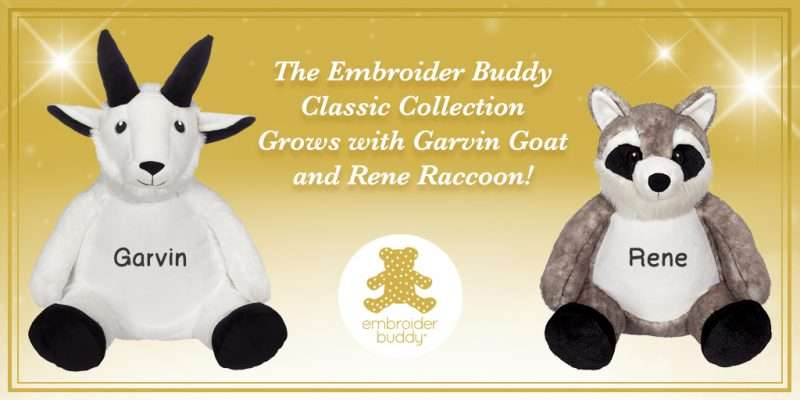 EB-Blog-The Embroider Buddy Collection Grows with Garvin Goat and Renee Raccoon!